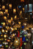 Traditional lanterns hanging at the Grand Bazaar. Group of traditional multicolored turkish lamps hanging at the Grand Bazaar in Istanbul, Turkey Royalty Free Stock Photography