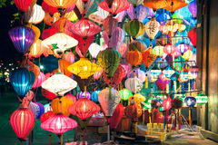 Traditional lanterns shop at night, Hoi An, Vietnam Stock Photo