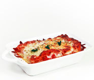 Traditional lasagna. Traditional beef lasagna Isolated on white Stock Photography