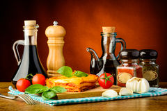 Traditional lasagne with ingredients Royalty Free Stock Images