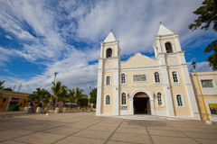 Traditional Latin America Church. Yellow Church in Baja Mexico with Blue Sky Stock Photo
