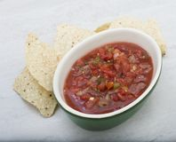 Traditional Latin American mexican salsa sauce. With chips Royalty Free Stock Photos