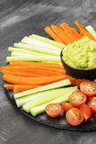 Traditional Latin American sauce guacamole in a bowl and various Royalty Free Stock Image