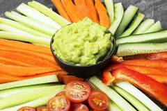Traditional Latin American sauce guacamole in a bowl and various Royalty Free Stock Photos