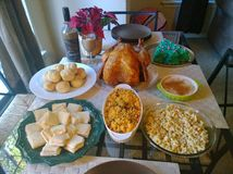 Traditional latin thanksgiving dinner Royalty Free Stock Image