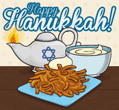 Traditional Latke and Sauce next to Oil Lamp for Hanukkah, Vector Illustration Royalty Free Stock Photography