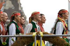 Traditional Latvian folk dancing Stock Photography