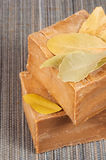 Traditional laurel soaps with leaves Royalty Free Stock Photography
