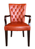 A traditional leather armchair upholstered Stock Photos