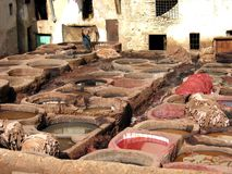 Traditional leather tanning. Fez, Morocco October 17 2008: Traditional leather tanning royalty free stock photography