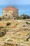 Traditional Lebanese house, Byblos. The remains of a traditional Lebanese house at the ancient and historical site of the Crusaders' castle in Byblos, Lebanon stock photo