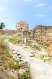 Traditional Lebanese house, Byblos. The remains of a traditional Lebanese house at the ancient and historical site of the Crusaders' castle in Byblos, Lebanon royalty free stock photo