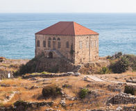 Traditional Lebanese house over the Mediterranean sea near ancient ruins in Byblos, Lebanon. Stock Photography