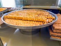 Traditional Lebanese sweets. On sale in a shop in Beirut, Lebanon royalty free stock photo