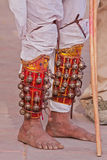 Traditional leg bells worn by an intinerant musician in Rajasthan Stock Photos