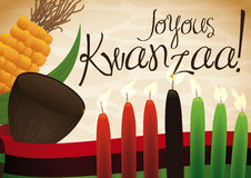 Traditional Lighted Candles, Cup, Corn and Flag Celebrating Kwanzaa, Vector Illustration Stock Photos
