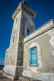 Traditional lighthouse at the most southern point of greek mainland Royalty Free Stock Images