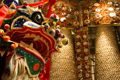 Traditional lion dance Royalty Free Stock Photo