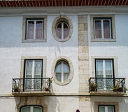 Traditional Lisbon street view, old classic buildings, summertim Royalty Free Stock Photos