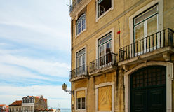Traditional Lisbon street view, old classic buildings, summertim Stock Image