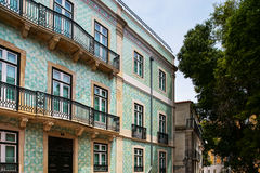 Traditional Lisbon street view, old classic buildings, summertim Royalty Free Stock Photography