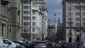 Traditional buildings in Liverpool city center. Traditional listed buildings in Liverpool city center stock footage