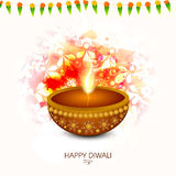 Traditional lit lamp for Happy Diwali celebration. Stock Photography