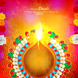 Traditional lit lamp for Happy Diwali. Royalty Free Stock Images