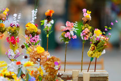 Traditional lithuanian Easter palm bouquets. Traditional lithuanian Easter decorative palm bouquets sold on spring market stock image