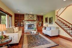 Traditional living room with hardwood floor. Stock Photo