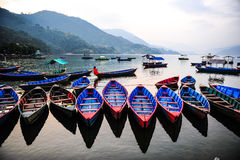Traditional local boat in the lake,Nepal Royalty Free Stock Image