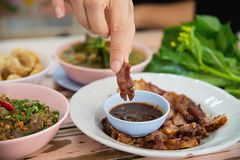 Traditional local Northern Thai style food meal. Local Thai food concept stock photos