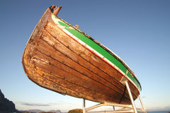 Traditional Lofoten's boat on top Royalty Free Stock Photo