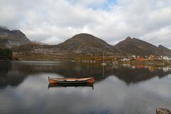 Traditional Lofoten's boats mirroring Stock Photo