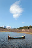 Traditional Lofoten's boats and strange cloud stock image