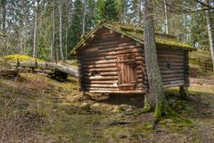 Traditional log cabin forest. Old water mill in traditional log cabin in forest. Seurasaari open air museum in Finland Helsinki Stock Image