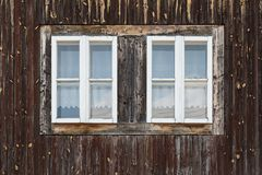 Malatina village in Orva region. Traditional log cabin in Orava region, Slovakia royalty free stock photos