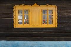 Podbiel village in Orva region. Traditional log cabin in Orava region, Slovakia royalty free stock image