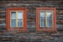 Zaskov village in Orva region. Traditional log cabin in Orava region, Slovakia royalty free stock image