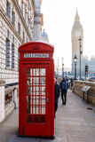 Traditional London red phone box and Big ben in early morning Stock Images