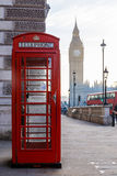 Traditional London red phone box and Big ben in early morning Royalty Free Stock Photos