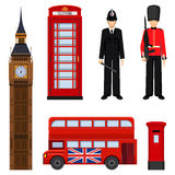 Traditional London sightseeing set vector illustration isolated on white. Royalty Free Stock Image