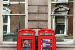 Traditional London telephone boxes Stock Photography