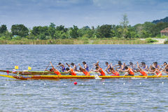 Traditional long boat racing at koa toa huahin 2013 Stock Photography