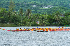 Traditional long boat racing koa toa huahin 2013 Stock Photo