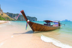 Traditional long-tail boat on the beach, Krabi, Thailand Royalty Free Stock Photo