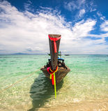 Traditional long tail boat Thailand in turquoise waters of Andaman Sea Royalty Free Stock Photo