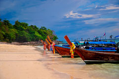 Traditional long tail boats in Thailand. Traditional long tail boat in phi phi island , Phuket, Thailand Royalty Free Stock Image