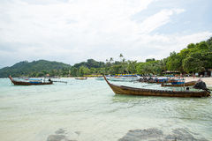 Traditional longtail boat in bay on Phi Phi Island, Krabi,Thailand, Phuket Stock Photography