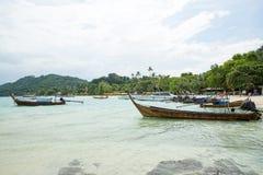 Traditional longtail boat in bay on Phi Phi Island, Krabi,Thailand, Phuket Stock Photography